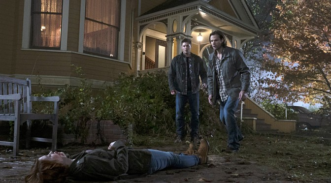 "Sam (Jared Padalecki) and Dean (Jensen Ackles) meet up with an old friend in S10E11 ""There's No Place like Home"""